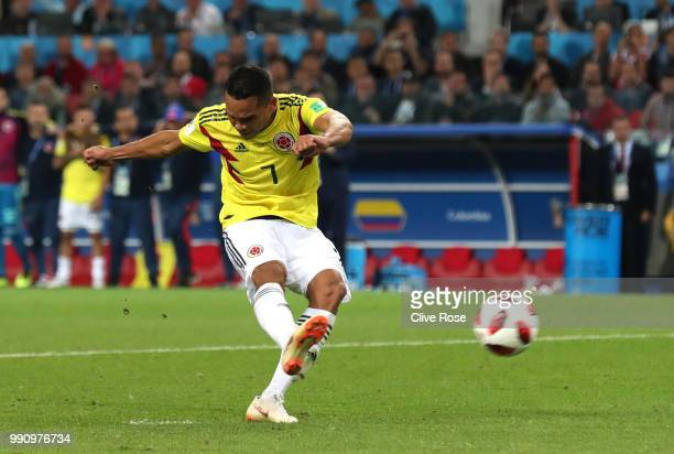 Carlos Bacca of Colombia takes his sides 5th penalty which is later saved by Jordan Pickford of England during the 2018 FIFA World Cup Russia Round...