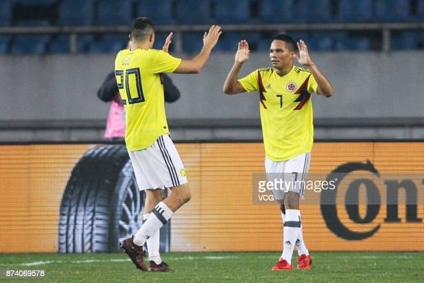 Carlos Bacca of Columbia National Team celebrates a point during the international friendly match between China and Columbia at Chongqing Olympic...