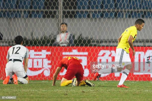 Carlos Bacca of Columbia National Team shoots the ball during the international friendly match between China and Columbia at Chongqing Olympic Sports...