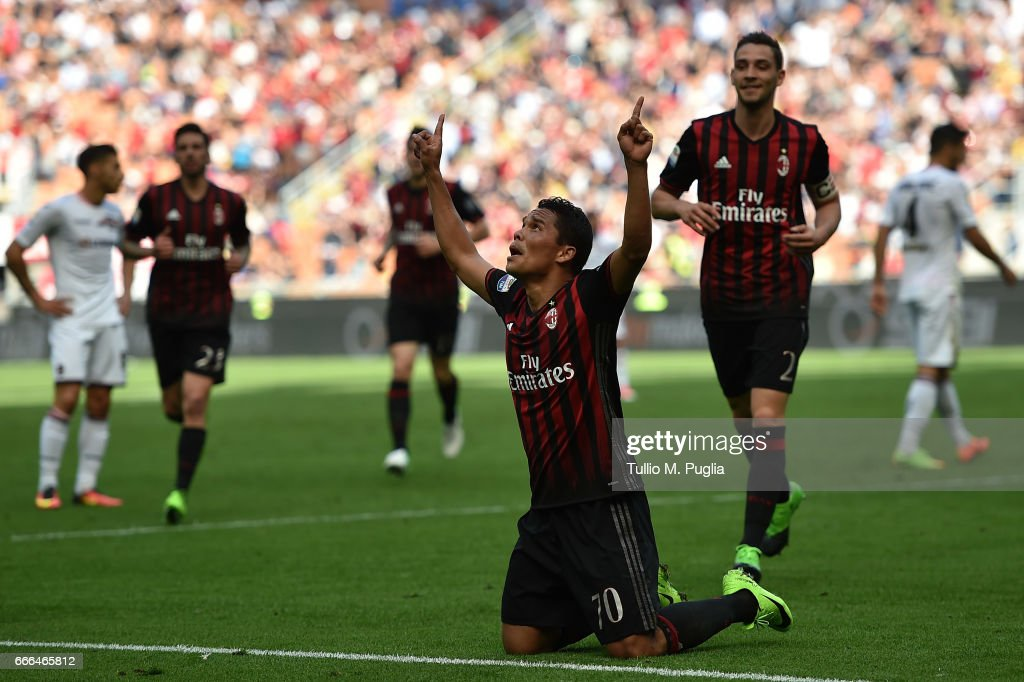 Carlos Bacca of Milan celebrates after scoring his team's third goal during the Serie A match between AC Milan and US Citta di Palermo at Stadio Giuseppe Meazza on April 9, 2017 in Milan, Italy.
