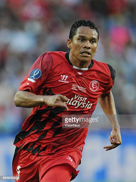 Carlos Bacca of Sevilla during the UEFA Super Cup Final between Real Madrid CF and Sevilla FC at the Cardiff City Stadium in Cardiff Wales UK Photo...