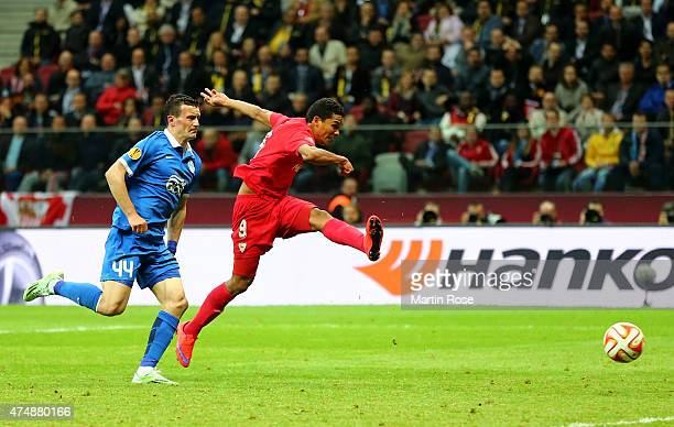 Carlos Bacca of Sevilla scores his team's third goal during the UEFA Europa League Final match between FC Dnipro Dnipropetrovsk and FC Sevilla on May...