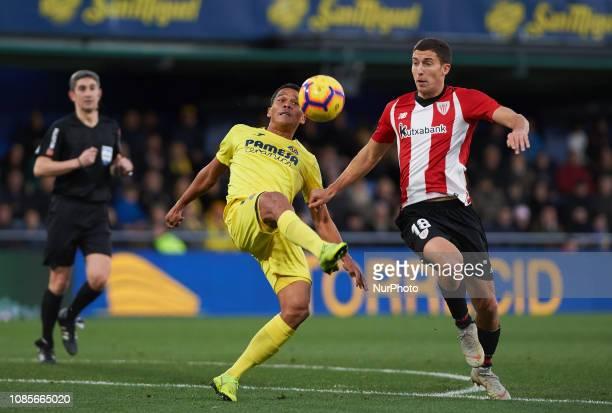 Carlos Bacca of Villarreal and Oscar de Marcos of Athletic Club de Bilbao during the La Liga Santander match between Villarreal and Athletic Club de...