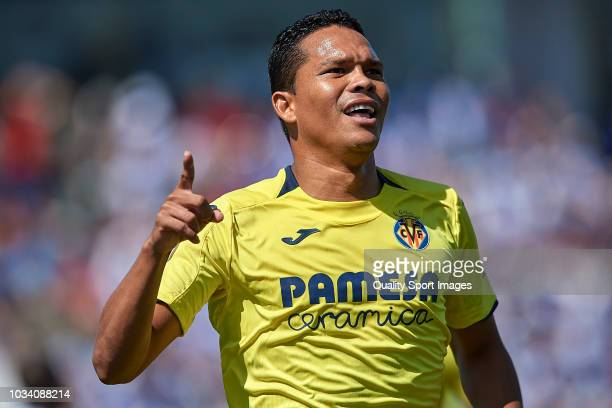 Carlos Bacca of Villarreal CF celebrates after scoring his team's first goal during the La Liga match between CD Leganes and Villarreal CF at Estadio...