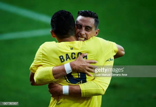 Carlos Bacca of Villarreal CF celebrates after scoring his team's second goal during the La Liga Santander match between SD Eibar and Villarreal CF...
