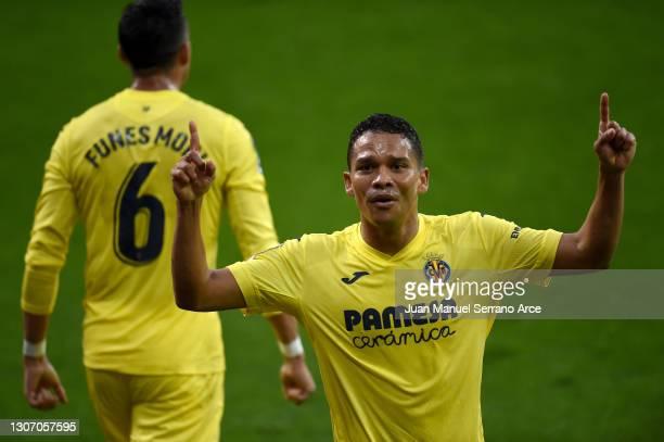 Carlos Bacca of Villarreal CF celebrates after scoring their side's second goal during the La Liga Santander match between SD Eibar and Villarreal CF...