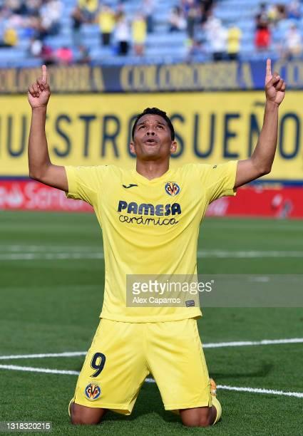 Carlos Bacca of Villarreal CF celebrates after scoring their side's first goal during the La Liga Santander match between Villarreal CF and Sevilla...
