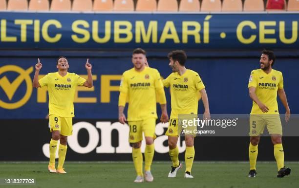 Carlos Bacca of Villarreal CF celebrates after scoring their side's fourth goal during the La Liga Santander match between Villarreal CF and Sevilla...