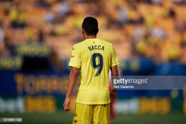 Carlos Bacca of Villarreal CF looks on during the La Liga Santander match between Villarreal CF and Sevilla FC at Estadio de la Ceramica on May 16,...