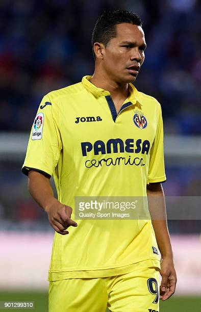 Carlos Bacca of Villarreal looks on during the Copa del Rey Round of 16 first Leg match between UD Leganes and Villarreal CF at Estadio Municipal de...