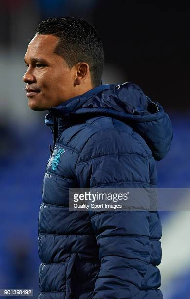 Carlos Bacca of Villarreal looks on prior to the Copa del Rey Round of 16 first Leg match between UD Leganes and Villarreal CF at Estadio Municipal...