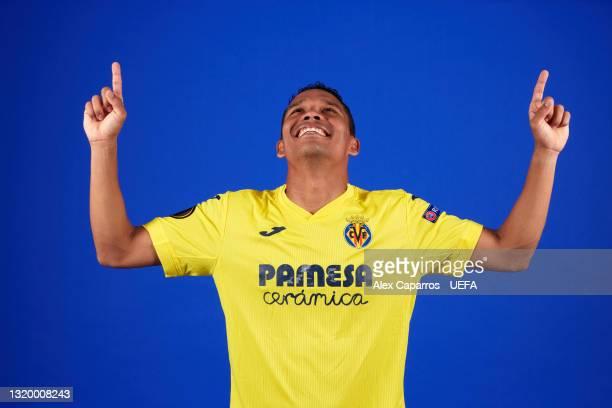 Carlos Bacca of Villarreal poses for a photo during a Villarreal CF Access Day ahead of the UEFA Europa League Final between Villarreal CF and...