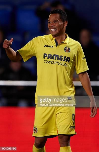 Carlos Bacca of Villarreal reacts during the Copa del Rey Round of 16 second Leg match between Villarreal CF and Leganes at Estadio de La Ceramica on...