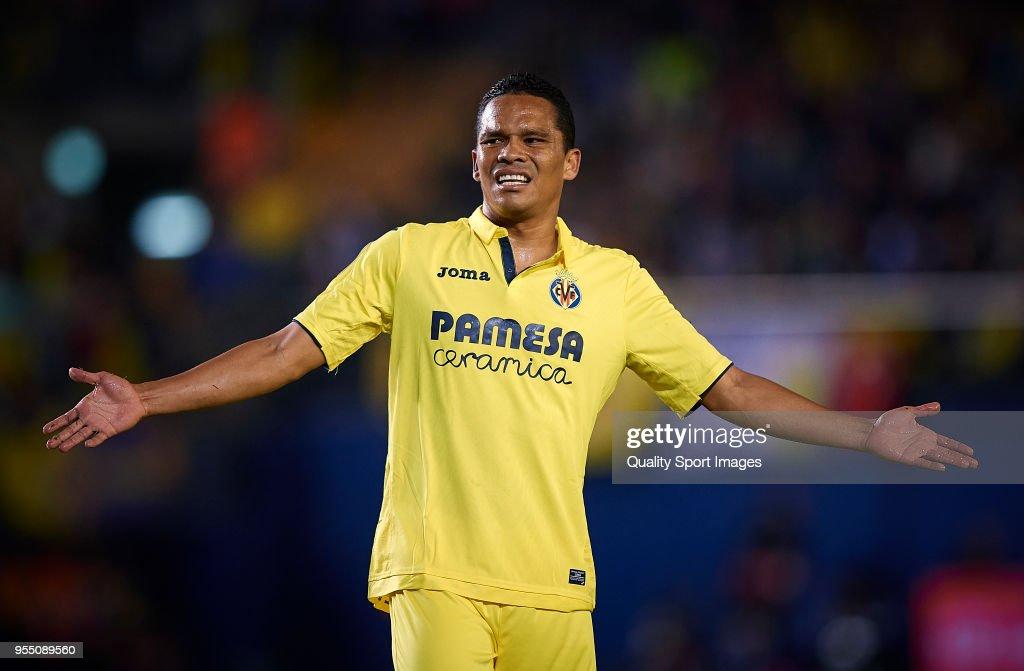 Carlos Bacca of Villarreal reacts during the La Liga match between Villarreal and Valencia at Estadio de la Ceramica on May 5, 2018 in Villarreal, Spain.
