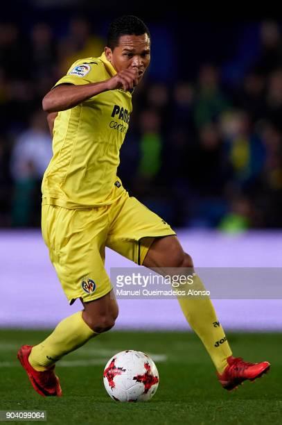 Carlos Bacca of Villarreal runs with the ball during the Copa del Rey Round of 16 second Leg match between Villarreal CF and Leganes at Estadio de La...