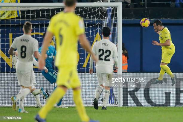 Carlos Bacca of Villarreal scores the fourth goal to make it 22 during the La Liga Santander match between Villarreal v Real Madrid at the Estadio de...