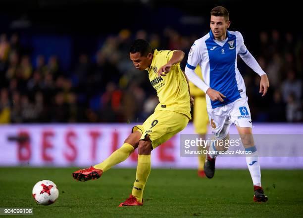 Carlos Bacca of Villarrealin action during the Copa del Rey Round of 16 second Leg match between Villarreal CF and Leganes at Estadio de La Ceramica...
