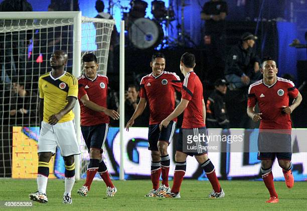 Carlos Bacca player of Colombian national team celebrates a scored goal during the Colombia Farewell Ahead of FIFA World Cup Brazil 2014 event at...