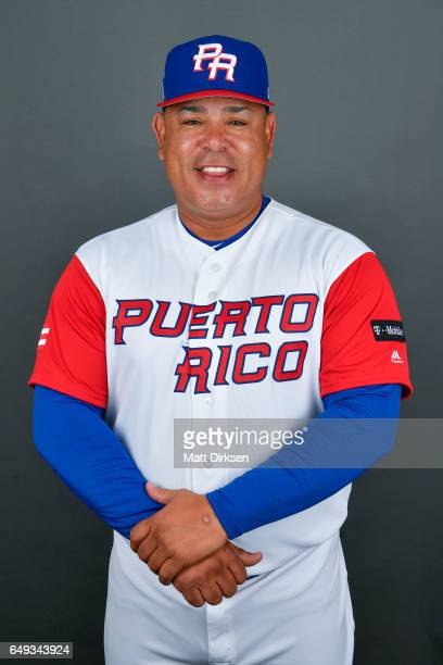 Carlos Baerga of Team Puerto Rico poses for a headshot for Pool D of the 2017 World Baseball Classic on Tuesday March 7 2017 at Salt River Fields at...