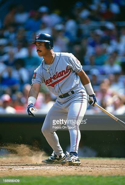 Carlos Baerga of the Cleveland Indians bats against the New York Yankees during an Major League Baseball game circa 1994 at Yankee Stadium in the...