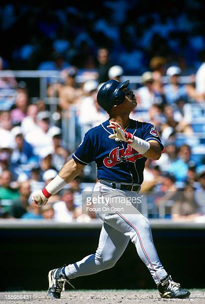 Carlos Baerga of the Cleveland Indians bats against the New York Yankees during an Major League Baseball game circa 1995 at Yankee Stadium in the...