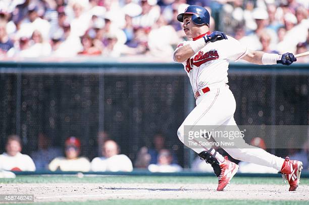 Carlos Baerga of the Cleveland Indians bats against the Texas Rangers at Progressive Field on May 18 1996 in Cleveland Ohio