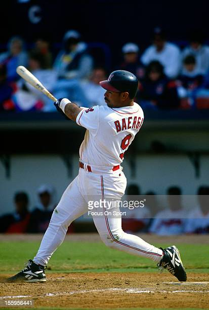 Carlos Baerga of the Cleveland Indians bats during an Major League Baseball game circa 1996 at Progressive Field in Cleveland, Ohio. Baerga played...