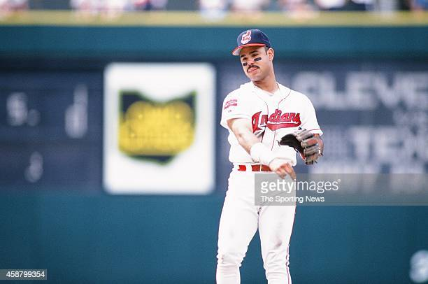 Carlos Baerga of the Cleveland Indians fields against the Texas Rangers at Progressive Field on May 19 1996 in Cleveland Ohio