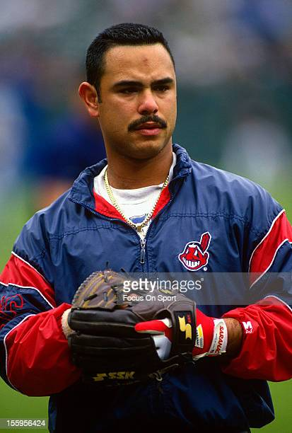 Carlos Baerga of the Cleveland Indians looks on during batting practice before a Major League Baseball game against the Baltimore Orioles circa 1995...