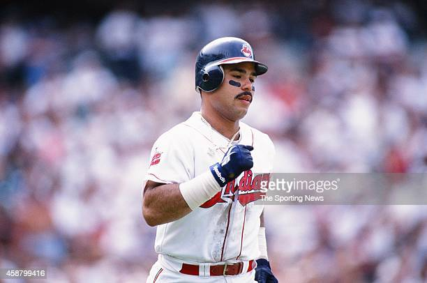 Carlos Baerga of the Cleveland Indians runs against the Texas Rangers at Progressive Field on May 19 1996 in Cleveland Ohio