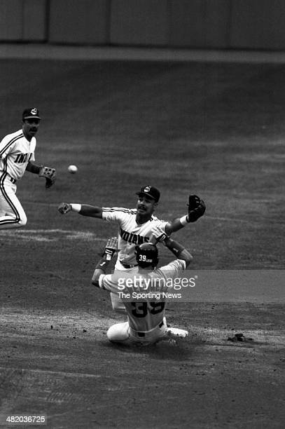 Carlos Baerga of the Cleveland Indians tries to catch the ball circa 1999