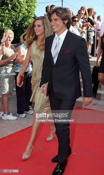 Carlos Baute and his girlfriend Astrid Klisans attend the wedding of Manuel Colonques, son of the president of Porcelanosa company, and Cristina...