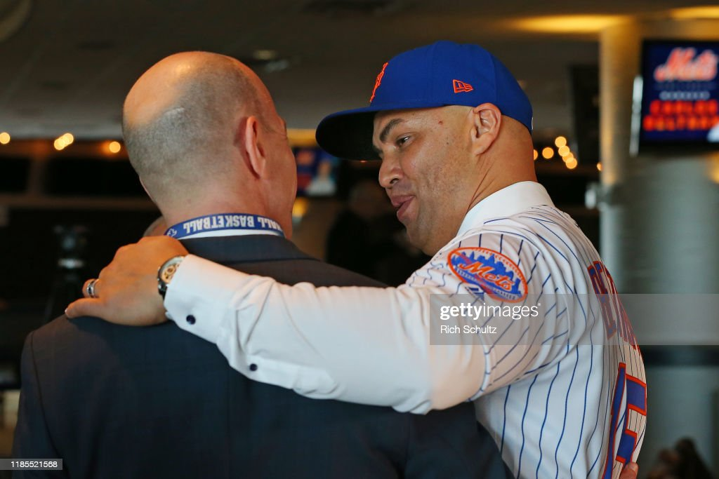 Carlos Beltran Hugs Radio Broadcaster Gary Cohen After Being