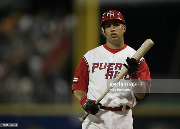 Carlos Beltran of team Puerto Rico bats during a 2nd round game against team Cuba during the 2006 World Baseball Classic at Hiram Bithorn Stadium in...