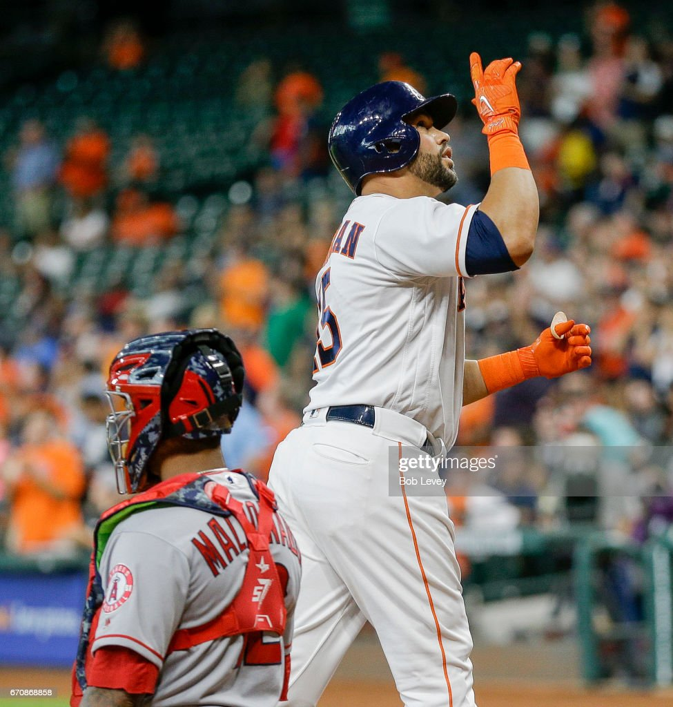 Carlos Beltran #15 of the Houston Astros celebrates his home run in the first inning against the Los Angeles Angels of Anaheim at Minute Maid Park on April 20, 2017 in Houston, Texas.