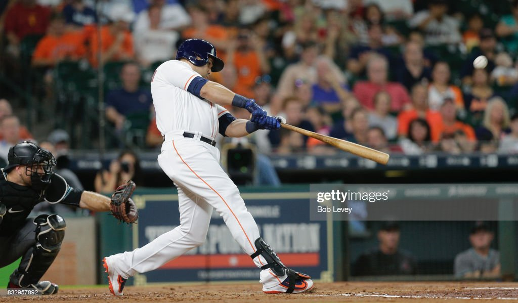 Carlos Beltran #15 of the Houston Astros hits a home run against the Arizona Diamondbacks in the second inning at Minute Maid Park on August 16, 2017 in Houston, Texas.