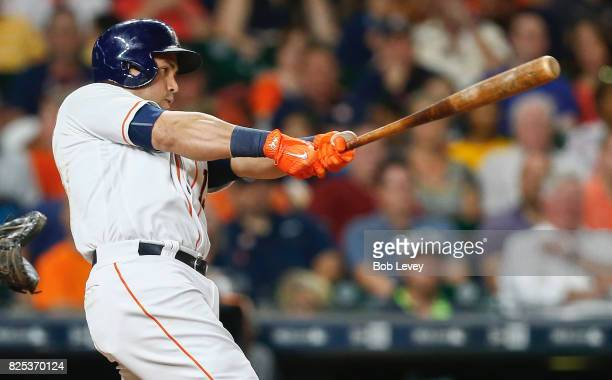 Carlos Beltran of the Houston Astros hits a home run in the fifth inning against the Tampa Bay Rays at Minute Maid Park on August 1 2017 in Houston...