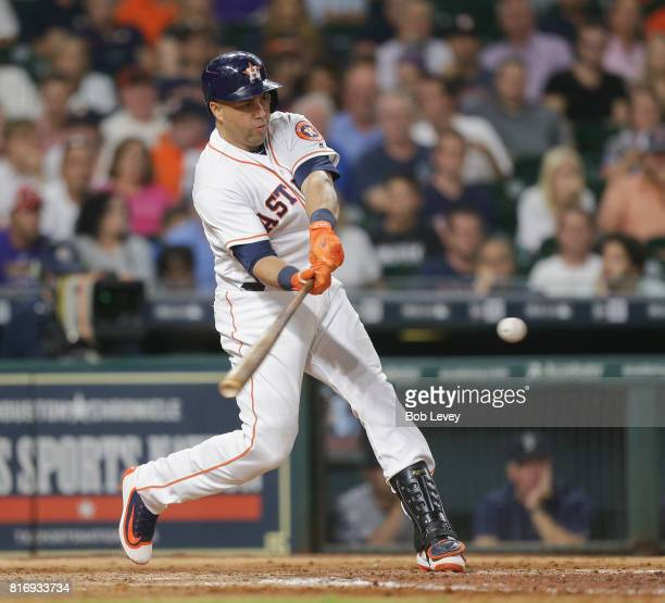 Carlos Beltran of the Houston Astros hits a tworun home run in the sixth inning against the Seattle Mariners at Minute Maid Park on July 17 2017 in...