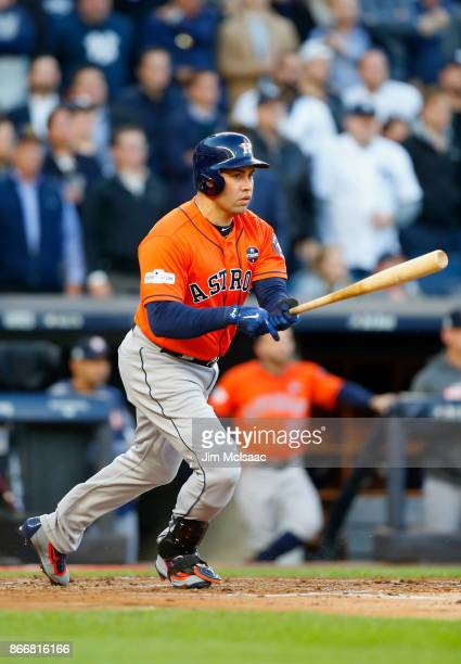 Carlos Beltran of the Houston Astros in action against the New York Yankees in Game Four of the American League Championship Series at Yankee Stadium...