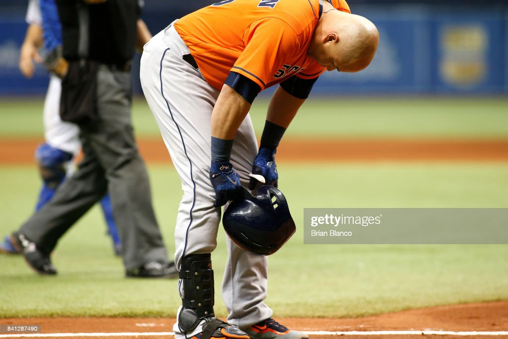 Carlos Beltran #15 of the Houston Astros reacts after being hit with a pitch by pitcher Jose Leclerc of the Texas Rangers during the seventh inning of a game on August 31, 2017 at Tropicana Field in St. Petersburg, Florida.