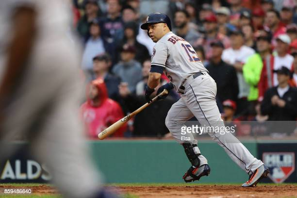 Carlos Beltran of the Houston Astros runs after hitting an RBI double in the ninth inning during game four of the American League Division Series at...
