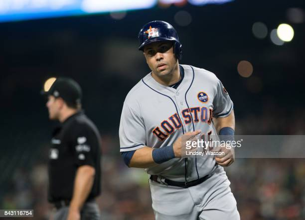 Carlos Beltran of the Houston Astros scores on a basesloaded sacrifice fly by Alex Bregman in the third inning against the Seattle Mariners at Safeco...