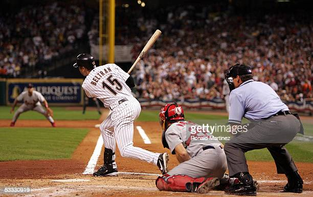 Carlos Beltran of the Houston Astros takes a swing at the plate in game five of National League Championship Series against the St Louis Cardinals...