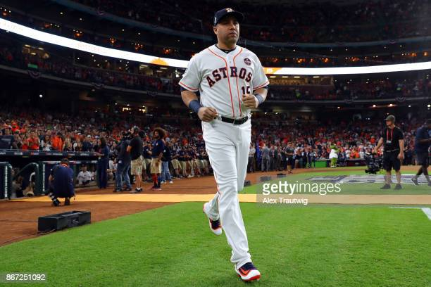 Carlos Beltran of the Houston Astros takes the field during player introductions prior to Game 3 of the 2017 World Series against the Los Angeles...