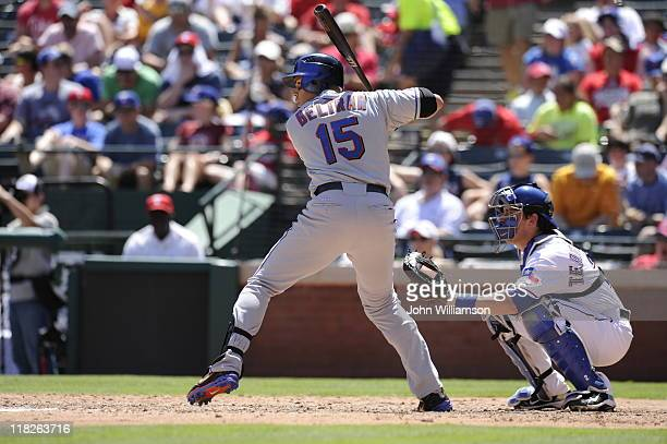 Carlos Beltran of the New York Mets bats against the Texas Rangers at Rangers Ballpark on June 26 2011 in Arlington Texas The Mets defeated the...