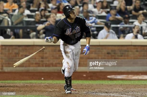 Carlos Beltran of the New York Mets hits a game winning walk off sacrifice fly against the Arizona Diamondbacks on July 31 2010 at Citi Field in the...