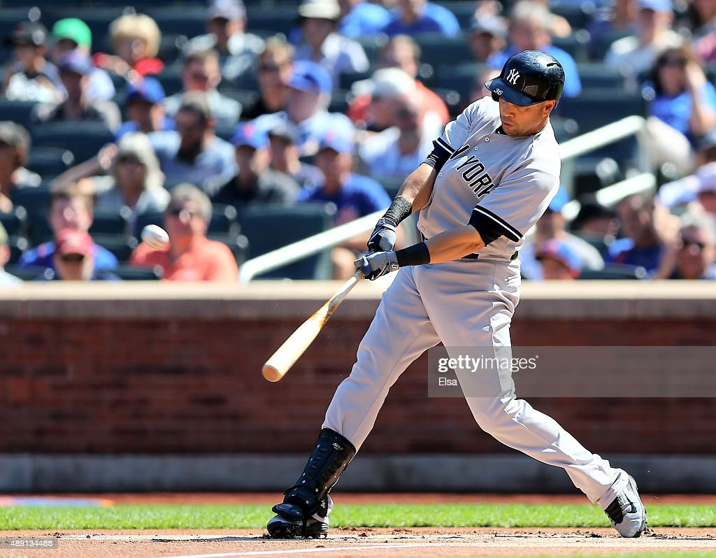 Carlos Beltran #36 of the New York Yankees hits a three run home run in the first inning against the New York Mets during interleague play on September 19, 2015 at Citi Field in the Flushing neighborhood of the Queens borough of New York City.