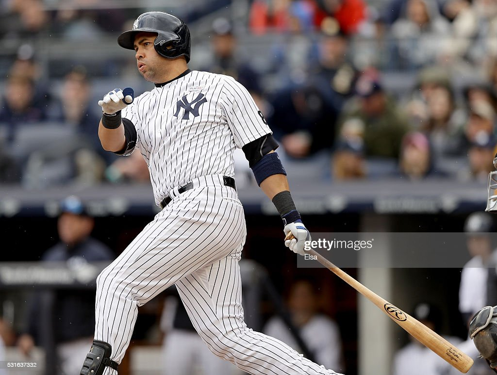 Carlos Beltran #36 of the New York Yankees hits hit career 400th home run in the sixth inning against the Chicago White Sox at Yankee Stadium on May 15, 2016 in the Bronx borough of New York City.