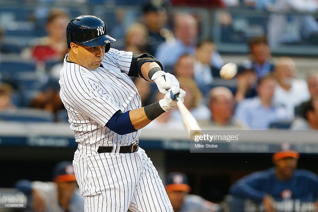 Carlos Beltran #36 of the New York Yankees in action against the Houston Astros at Yankee Stadium on August 19, 2014 in the Bronx borough of New York City. Astros defeated the Yankees 7-4.