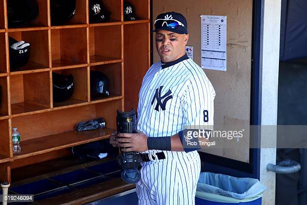 Carlos Beltran of the New York Yankees stands in the dugout prior to the game against the Houston Astros at Yankee Stadium on Tuesday April 5 2016 in...